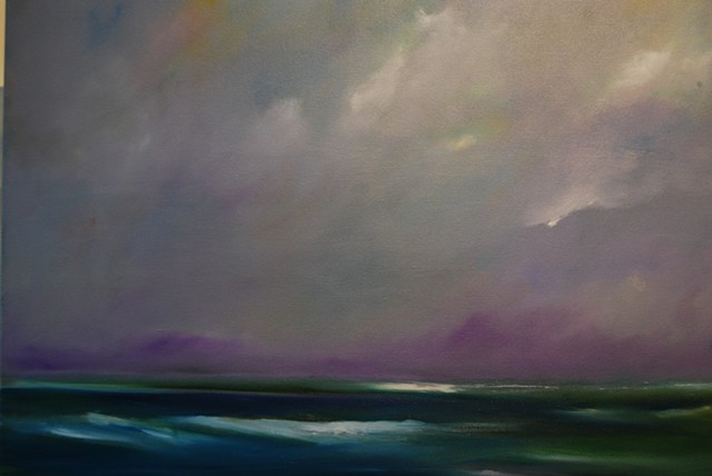 purple sky green sea 24x30 oil canvas