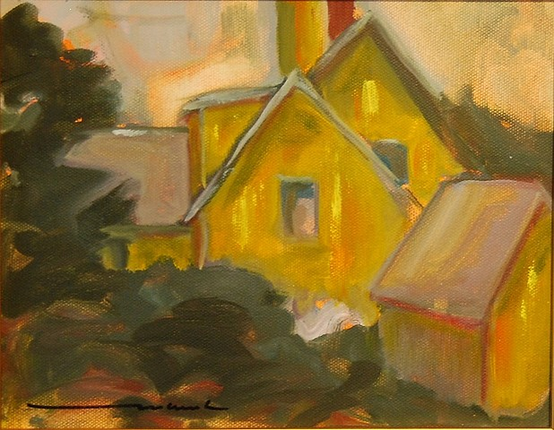 yellow farmhouse oil on canvas 8x10