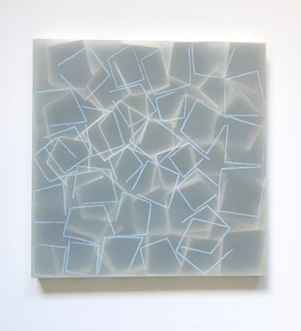 Courtesy of Galerie Pugliese Levi | Open White Squares (Traced blue lines)
