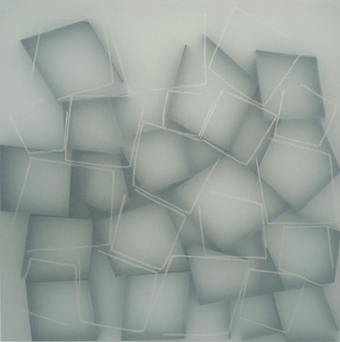 Open Black Squares (Blue green background)