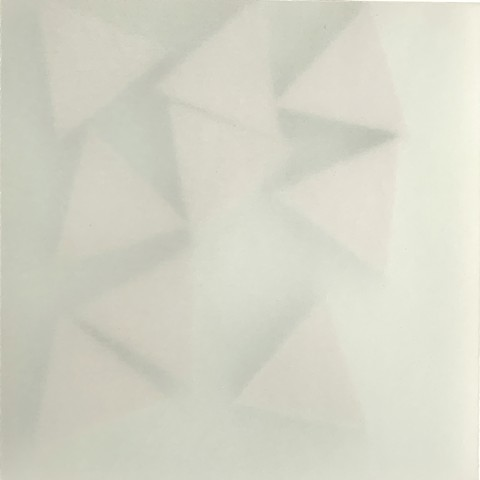 Courtesy of Galerie Pugliese Levi | Grey Triangles (green background)