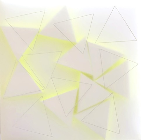 Courtesy of Galerie Pugliese Levi | 9 White Triangles Traced (with neon yellow)