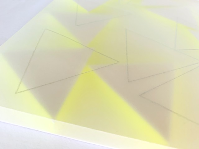 Courtesy of Galerie Pugliese Levi | 9 White Triangles Traced (with neon yellow). Detail