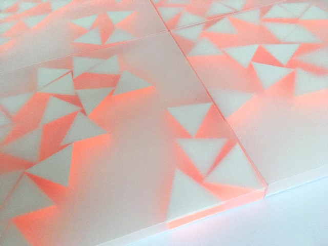 Courtesy of Galerie Pugliese Levi | 21 Triangles (with neon orange). Detail
