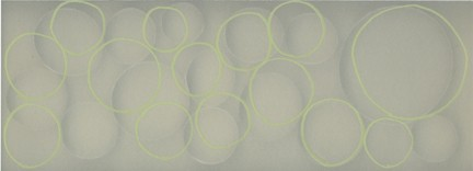 Untitled (circles on cream BKGD and green lines),   2/9 movements