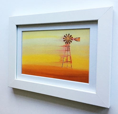 'Amber Winds' by Eva Glock, Contemporary Painting, Windmill