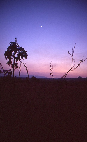 Teuchitlan Mexico, Dusk and the Moon
