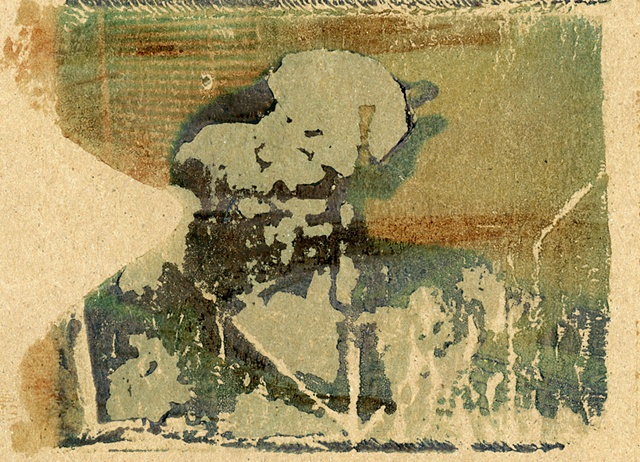 "Polaroid transfer on paper bag- ""fredman"" 2012"