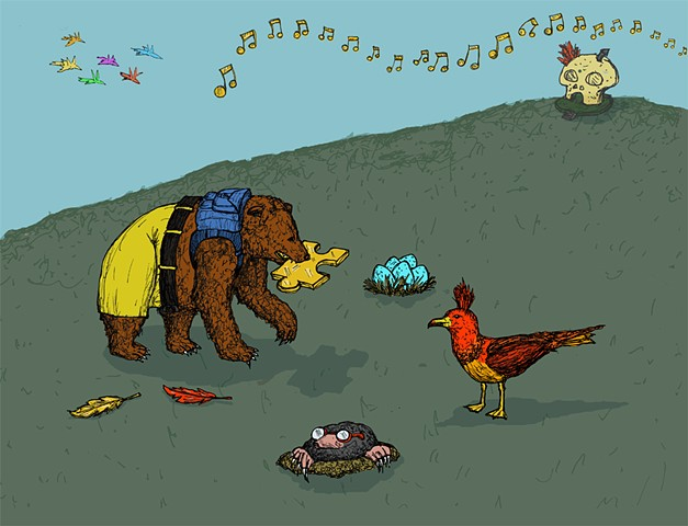 banjo and kazooie, N64, bear, bird, mumbo, jinjo, golden feather, jiggy, backpack, bottles, mole, video game, art, illustration, geek, nerd