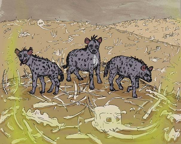 disney, lion king, art, illustration, hyenas, ed, elephant graveyard,