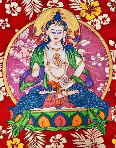 VajraSattva, BodhiSattva of purification and forgiveness, Purity, Thangka art, Buddhist Art