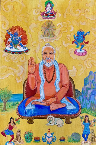 Family portrait, Babaji, Faith and Devi, Thangka art,