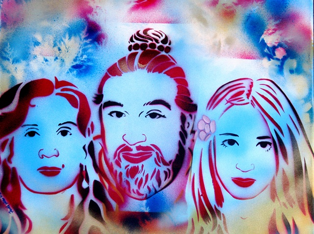 Baba, Faith and Tara stencil