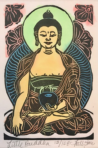 Little Buddha, thangka art, Woodblock thangka, Shakyamuni woodblock, Buddha woodblocks, Buddhist Art