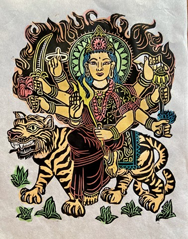 Durga Devi, Protector goddess, Durga w Tiger, Everyday Goddesses, Durga woodblock,