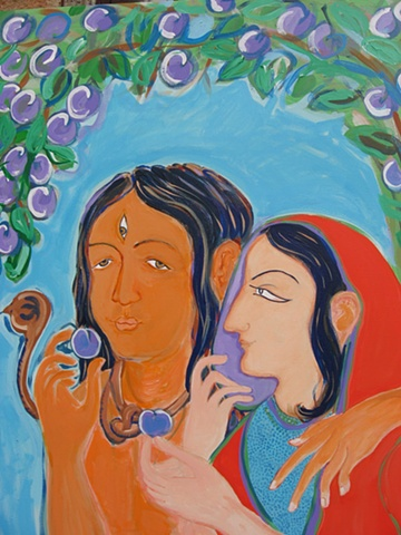 Thangka painting, Shiva Parvati, Faith stone art, faithstoneart, Contemporary Buddhist and Hindu art