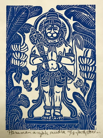 Hanuman, true devotion, mokuhanga oodblock, thangka art, AmericanBuddhistArt