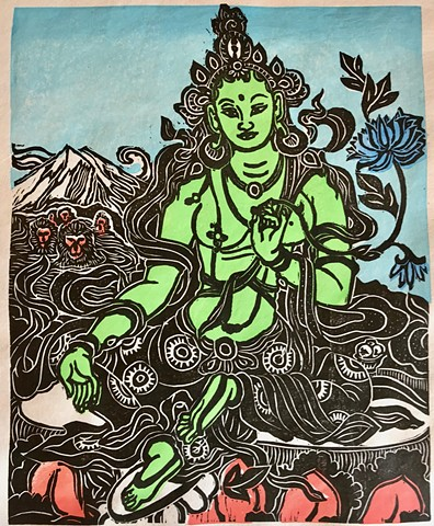 Green Tara with snow monkeys, Green Tara with mount Fuji, Green Tara, AmericanBuddhistArt