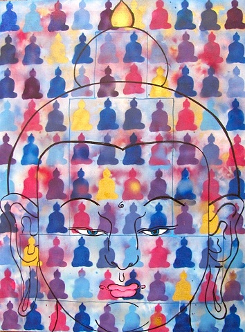 Thangka painting, 100 Buddhas, Faith stone art, faithstoneart, Contemporary Buddhist and Hindu art, Buddhas, healing, painting