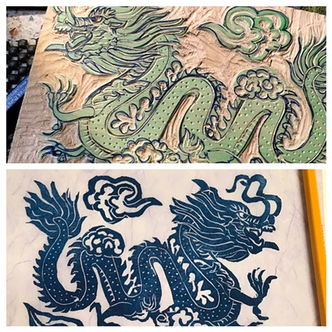 Dragon, woodblock, mokuhanga