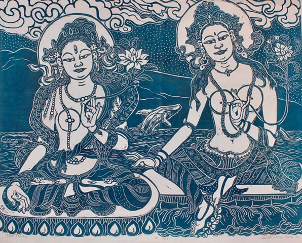 Two Taras, Green Tara and White Tara, Goddess of compassion #faithstoneart