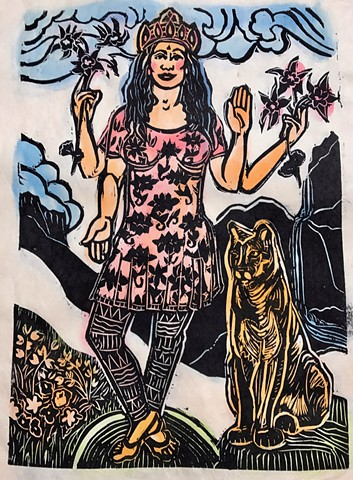 Contemporary Goddess Series, Colorado Mountain Goddess, Colorado mountain lion, #faithstoneart, #mokuhanga