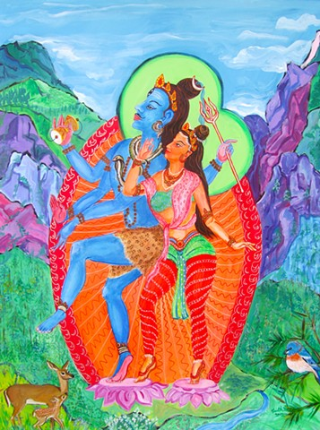 Shiva and parvati, Eldorado Canyon, contemporary hindu and buddhist art, drawing buddhas and boddhisatvas