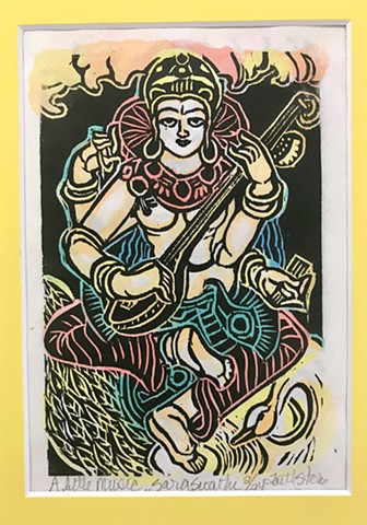 Saraswathi, Saraswati, Goddess of Music and art, Goddess of speech, Buddha woodblock