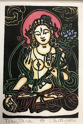 Tiny Tara, Little Buddhas, Thangka woodblocks, BuddhistArt, AmericanBuddhistArt, Tara Goddess