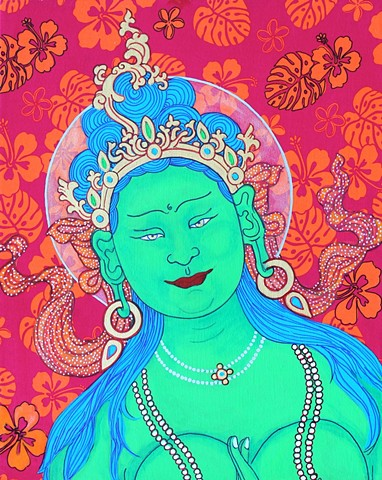 Green tara, contemporary Buddhist art, drawing buddhas and bodhisattvas, faithstoneart, Tibetan thangka painting