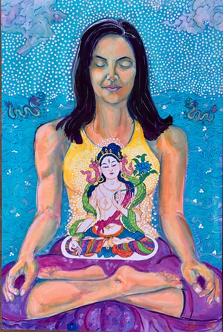 Devi in meditation on White Tara, Devi meditation, Meditation painting, American Buddhist Art