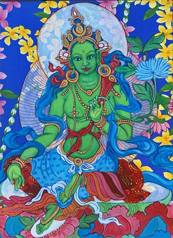 Aloha Green Tara, Green Tara painting, Buddha Art, Contemporary Buddhist Art