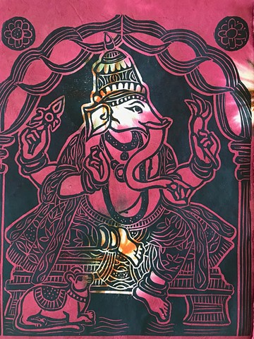 Ganesha #11, Ganesha remover of obstacles, Contemporary Buddhist Art, Mokuhanga Buddha woodblocks