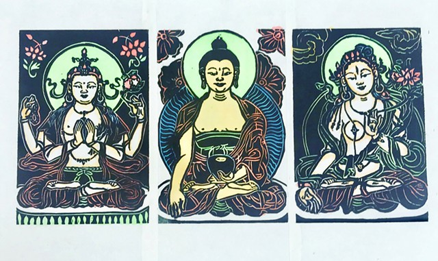 Tiny Trio, Little Buddha, Tiny Tara, Buddha woodblocks, thangka woodblock, Tara, Chenrezig, Shakyamuni