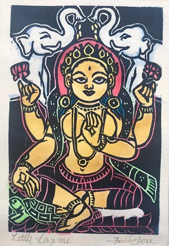 Little Laxmi, Little Buddhas, Lakshmi, goddess, mokuhanga woodblocks