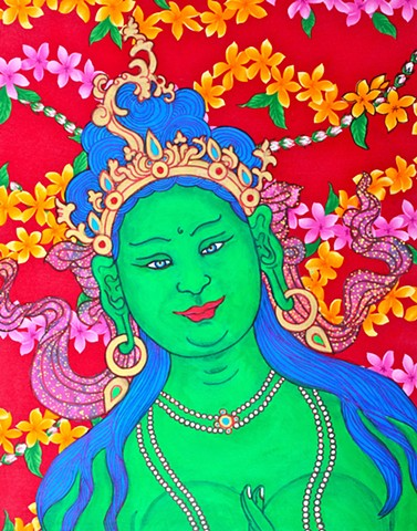 Aloha Green Tara, contemporary buddhist art, contemporary hindu art, faith stone art