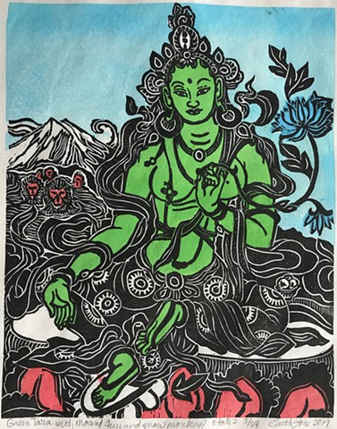 Green Tara with Mount Fuji and snow monkeys