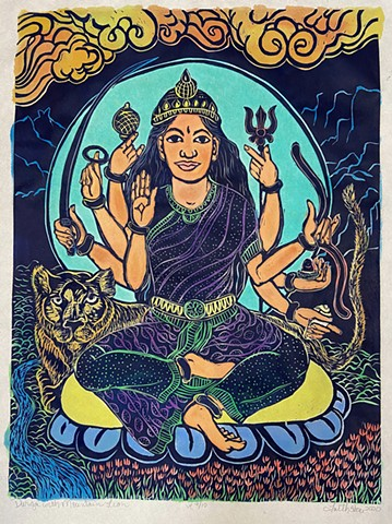 faithstoneart, mokuhanga woodblock, Durga w mountain lion, Brown Durga, warrior goddess, Durga woodblock, Goddess, Buddhist, Hindu art