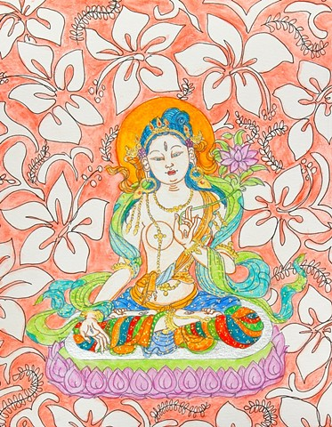 #Tara, #White Tara, #buddhist art, #thangka painting, #faithstoneart