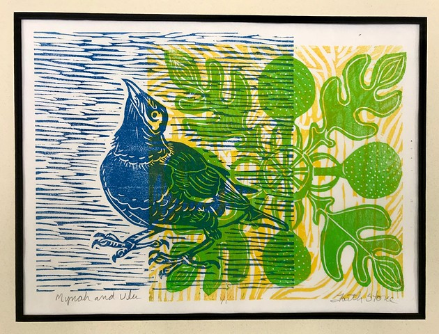 Mynah birds, #FaithStoneArt, Hawaii, Aloha, #mokuhanga, #woodblocks