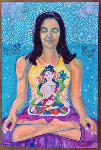 Devi, Goddess, White Tara, Meditation Portrait, Contemporary Goddess, meditation