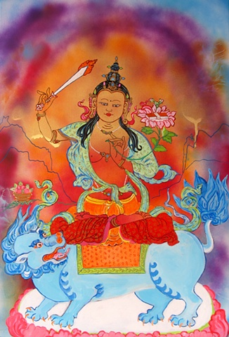 Thangka painting, Manjusuri, Faith stone art, faithstoneart, Contemporary Buddhist and Hindu art