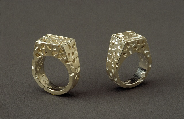 sterling rings with floral lace pattern