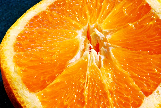 Macro (Close up) of Sliced Orange