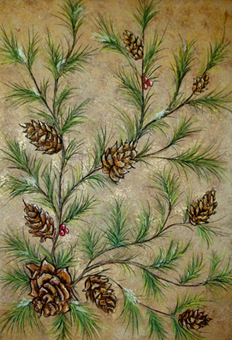 Pine Cones and Spruce Branches