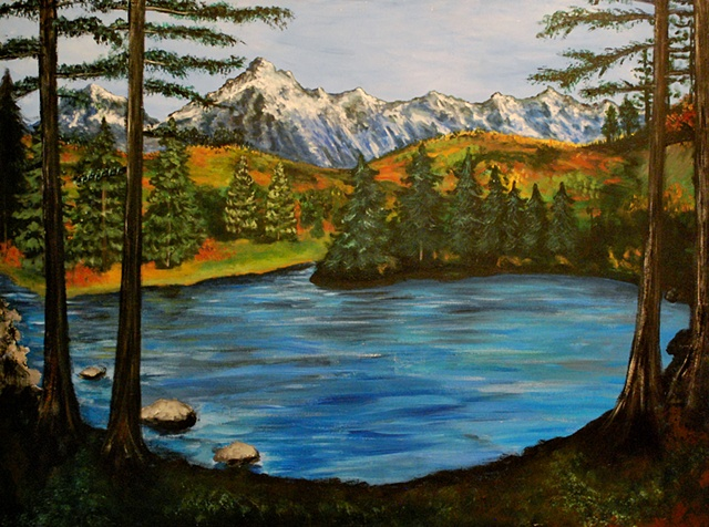 Painting of a hidden lake with mountains and pine trees