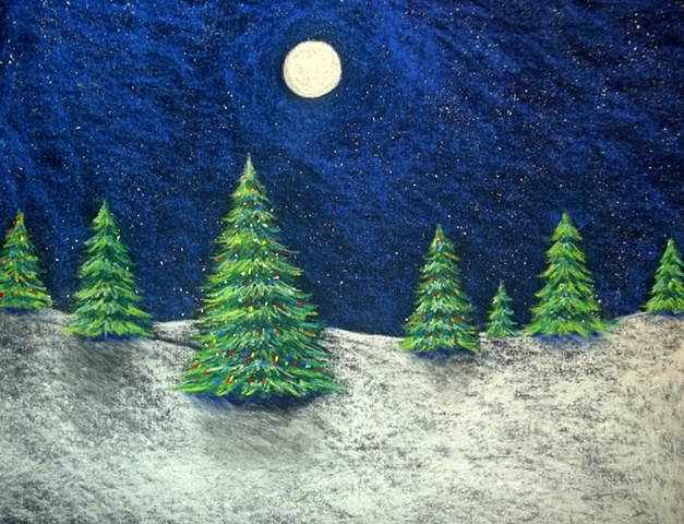 Christmas, Trees, christmas tree, holiday, winter, moon, night, pastels