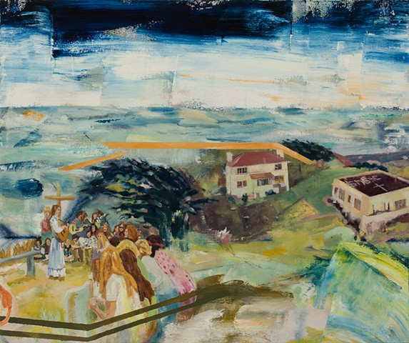 Expressionistic, colorful painting, 60's Christian cult wedding, communal buildings in back with oceanscape