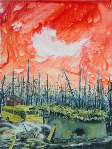 Landscape with funky commune, school bus, cobb structure, and big red sky