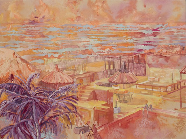 High-key expressionistically painted image in warm colors, representing a sun-bleached and idyllic private resort on ocean